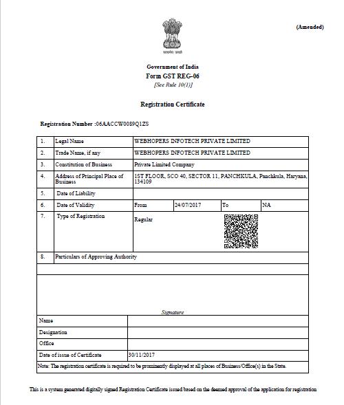 GST Certificate WebHopers Infotech